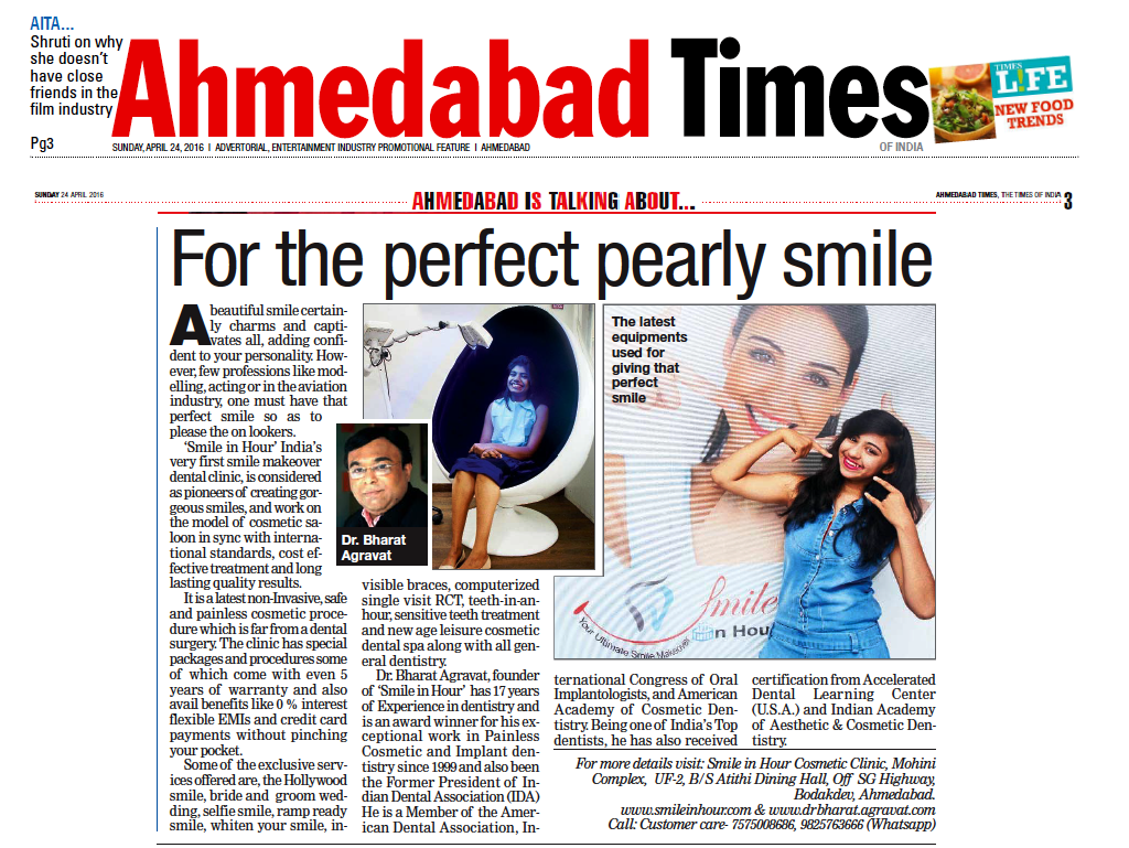 Cosmetic Dentist Dr Bharat Agravat smile makeover article in Ahmedabad Times of India