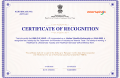 Startup India Certificate Of Recognition Smile in Hour Ahmedabad Mumbai New Delhi Chennai Hyderabad Kolkatta